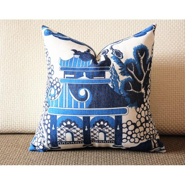 Designer cotton linen Pillow -Willow Pattern Chinoiserie Pillow Cover, blue Pillow - Throw Pillow 321