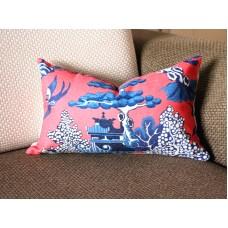 Designer cotton linen Pillow -Willow Pattern Chinoiserie Pillow Cover, hot pink blue Pillow - Throw Pillow 322