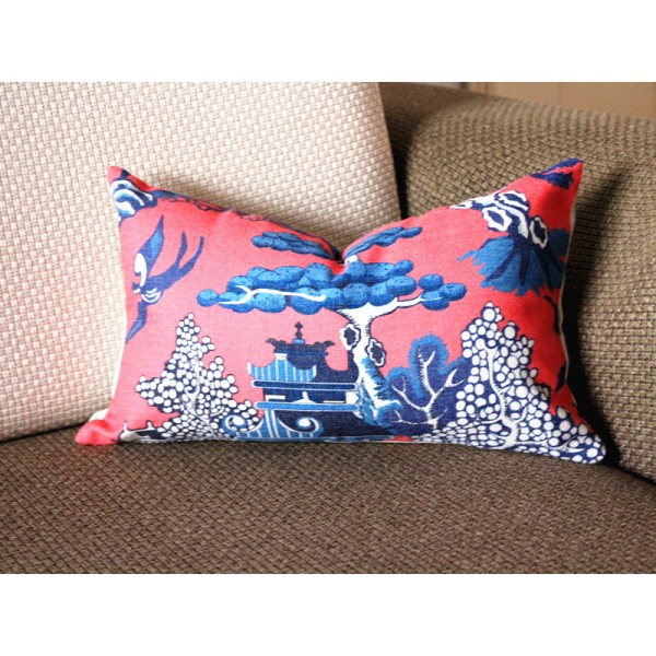 Designer cotton linen Pillow -Willow Pattern Chinoiserie Pillow Cover, hot pink blue Pillow - Throw Pillow 322