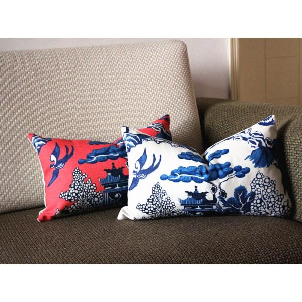 designer cotton linen pillow willow pattern chinoiserie pillow cover hot pink blue pillow