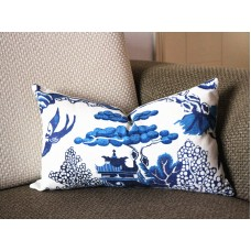 Designer cotton linen Pillow -Willow Pattern Chinoiserie Pillow Cover, blue Pillow - Throw Pillow 323