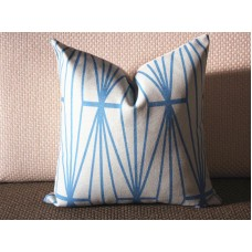 aqua blue Katana Pillow Cover - Ivory Ebony - aqua blue Pillow - Designer Geometric Pillow Cover 324