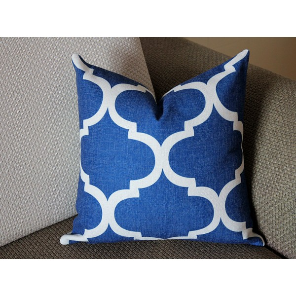 10 colors Blue and White Tile Pillow, Modern Decorative Pillow Cover, (16x16, 18x18, 20x20, 22x22, 24x24), Perfect Modern Pillow 329