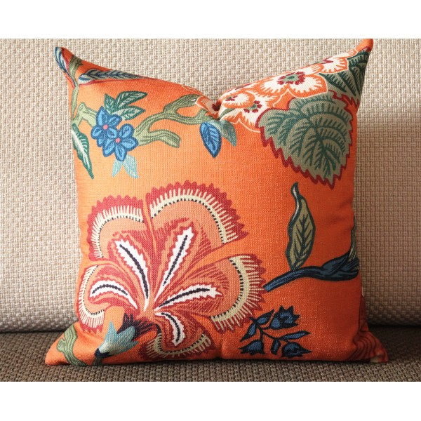 orange white blue pillow Flowers pillow cover in Spark - orange flower 331