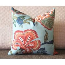 orange white blue pillow Flowers pillow cover in Spark - orange flower 331