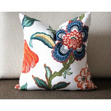 orange white blue pillow Flowers pillow cover in Spark - peacock blue flower 332
