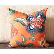 orange white blue pillow Flowers pillow cover in Spark - peacock blue flower 332