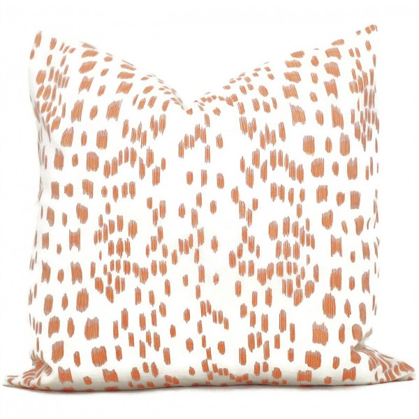 orange color Brunschwig Fils Les Touches Throw Pillow Cover with Zipper, Designer Cushions, Spotted Animal Print Decor, Square, Lumbar and Custom Sizes 464