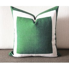 10 colors green Cotton Canvas Decorative Throw Pillow Cover with Off White Grosgrain - Cushion Covers-Geometric-18x18,20x20,22x22 339