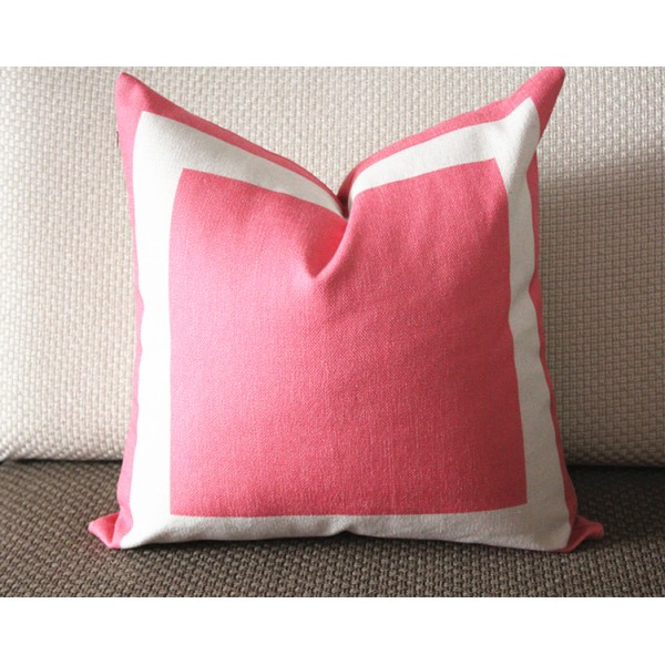 10 colors pink Cotton Canvas Decorative Throw Pillow Cover with Off White Grosgrain - Cushion Covers-Geometric-18x18,20x20,22x22 339