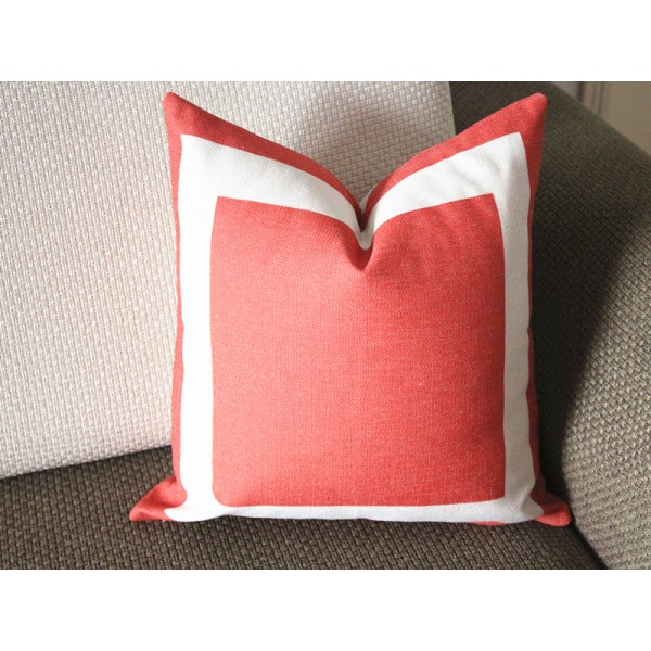 10 colors orange Cotton Canvas Decorative Throw Pillow Cover with Off White Grosgrain - Cushion Covers-Geometric-18x18,20x20,22x22 339