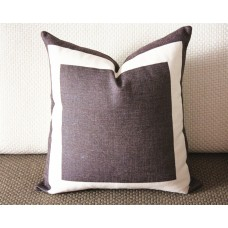 10 colors brown Cotton Canvas Decorative Throw Pillow Cover with Off White Grosgrain - Cushion Covers-Geometric-18x18,20x20,22x22 339