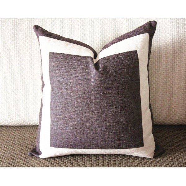 New 10 Colors Brown Cotton Canvas Decorative Throw Pillow Cover With Off  White Grosgrain   Cushion Covers