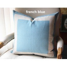 10 colors french blue Cotton Canvas Decorative Throw Pillow Cover with Off White Grosgrain - Cushion Covers-Geometric-18x18,20x20,22x22 339