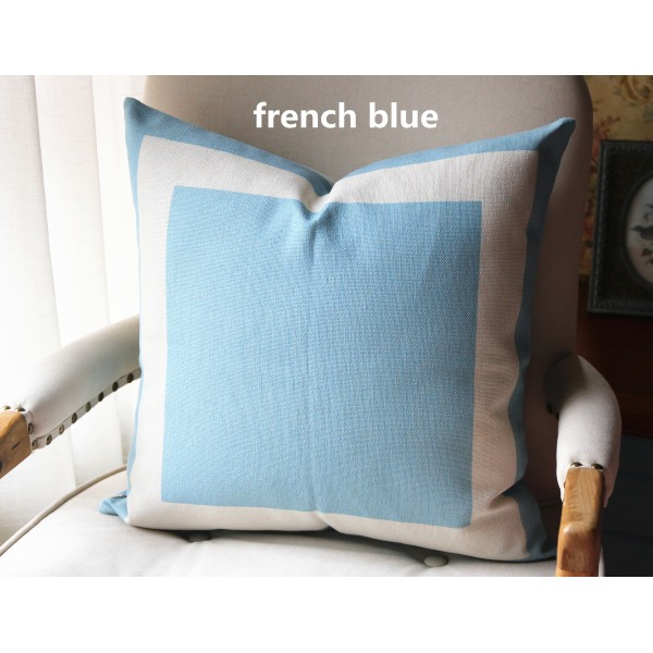 Awesome 10 Colors French Blue Cotton Canvas Decorative Throw Pillow Cover With Off White Grosgrain Cushion Covers Geometric 18X18 20X20 22X22 339 Gmtry Best Dining Table And Chair Ideas Images Gmtryco