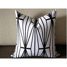 Black Katana Pillow Cover - Ivory Ebony - black and Ivory Pillow - Designer Geometric Pillow Cover 349