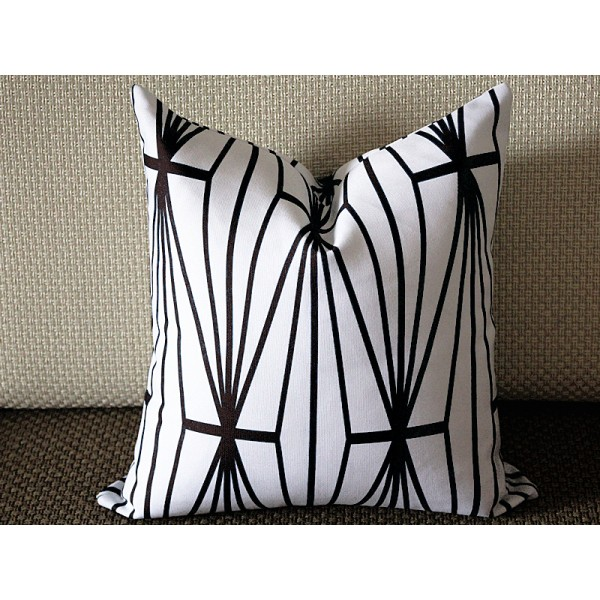 Black Katana Pillow Cover - Ivory Ebony - black and Ivory Pillow - Designer Geometric Pillow Cover 349
