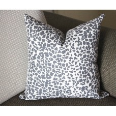 Gray Leopard Linen Print Pillow Cover (18x18, 20x20, 22x22, 24x24,26x26) cotton linen pillow covers 363