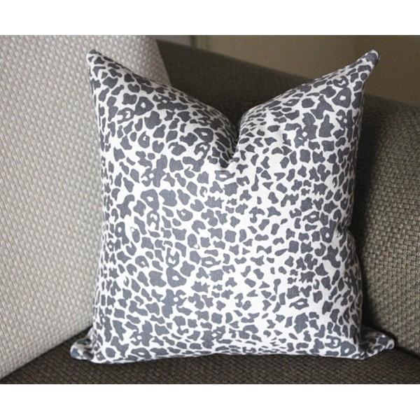 Gray Leopard Linen Print Pillow Cover (18x18, 20x20, 22x22, 24x24,26x26) cotton linen pillow covers 363
