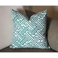 Lacefield Trellis greek key green blue pillow cover green Decorative Throw Pillow,Pillow Cover. green Lumbar Pillow 365