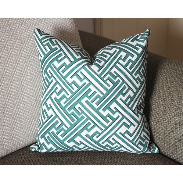 Lacefield Trellis greek key green blue pillow cover green Decorative Throw Pillow,Pillow Cover. green Lumbar Pillow 365