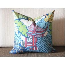 Designer cotton linen Pillow -PAGODA upholstery Pillow -Dorothy Draper- Lilly Pulitzer, green Pillow - Throw Pillow 366