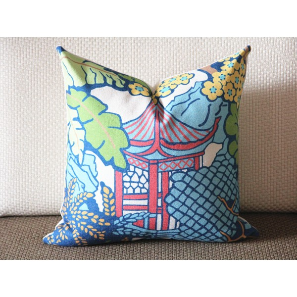 Designer cotton linen Pillow -PAGODA upholstery Pillow -Dorothy Draper- Lilly Pulitzer, green Pillow - Throw Pillow 366