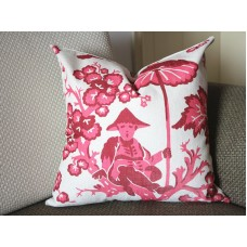Chinoiserie Paradise Toile Pillow Cover Pink Pillow - Throw Pillow - Designer Pillow - 367