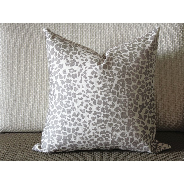 coffee Leopard Linen Print Pillow Cover (18x18, 20x20, 22x22, 24x24,26x26) cotton linen pillow covers 368