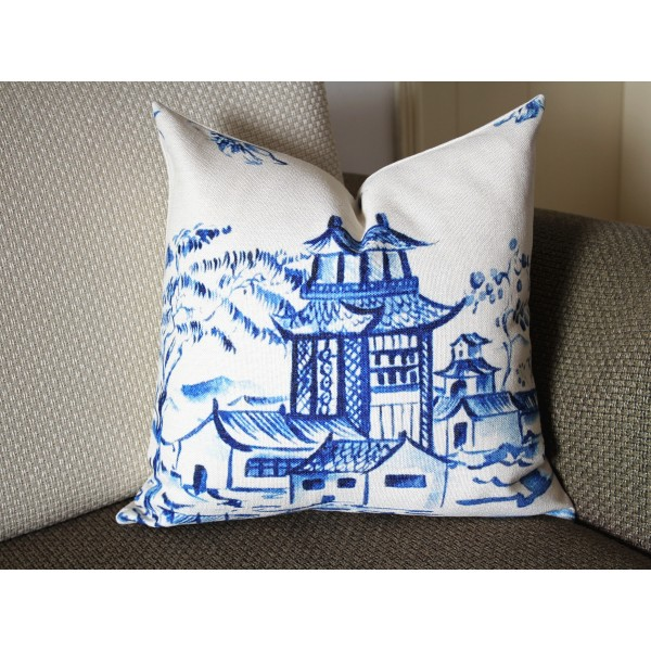 Designer cotton linen Pillow - blue Pavilion Chinoiserie Pattern, blue Pillow - Throw Pillow 371