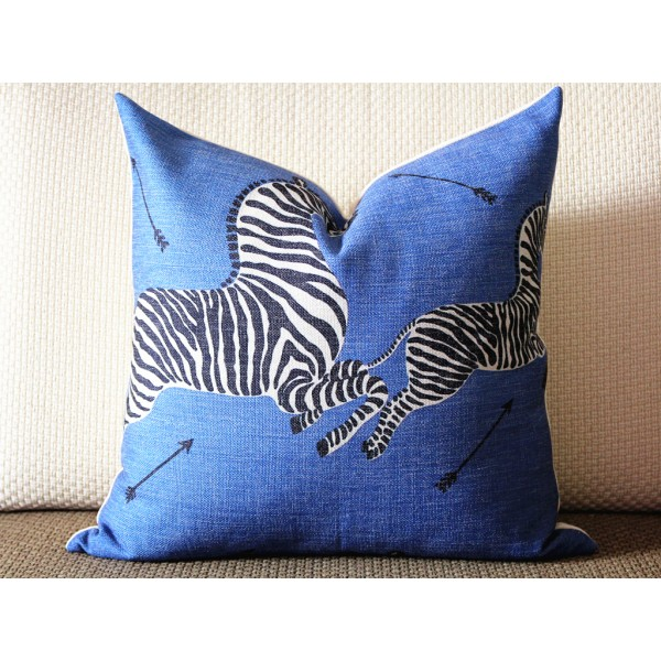 10 color to choose -Decorative Pillow Cover - Blue INDOOR Zebra Decorative Pillow Cover, Square, Euro or Lumbar Pilllow 382
