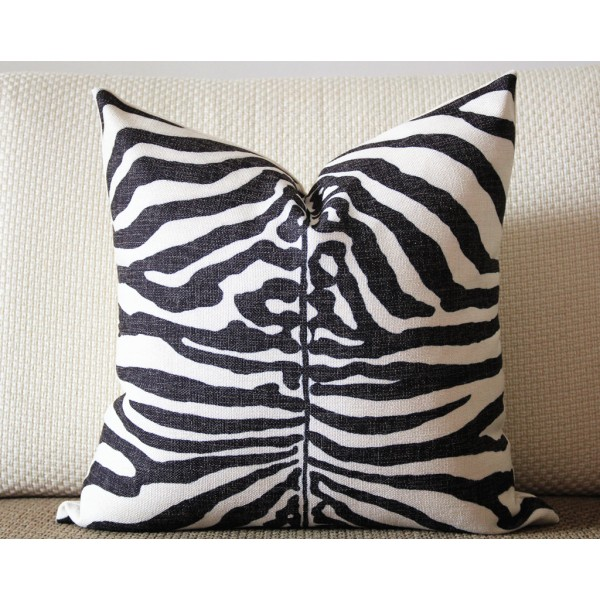 Black and White Zebra Pillow Cover Decorative Pillow Cover, Square, Euro or Lumbar Pilllow 383