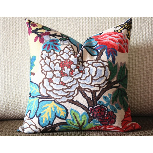 9 colors Designer Pillow - chinese Dragon Flowers Pillow Cover in Alabaster 386