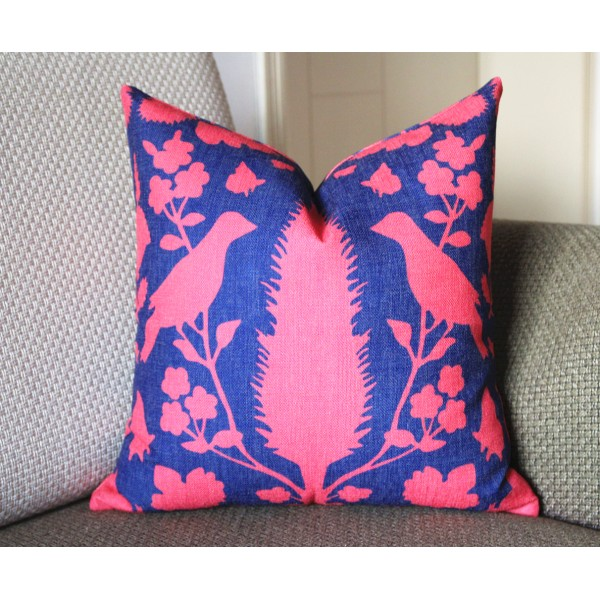 dark blue red bird colors hot pink blue Pillow, Bird Pillow, Decorative Throw Pillow Cover Invisible Zipper Closure, Toss Pillow, Accent Pillow 387