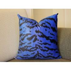Leopard thin Tiger Velvet Pillow Cover - Animal Print Throw Pillow - blue and Black Short plush Velvet Pillow - Lumbar pillow 395