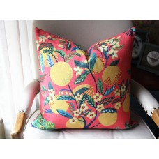 Designer cotton and linen Pillow - Citrus Garden Floral Pillow Cover -Hot Pink Yellow Green blue Pillow - Botanical Throw Pillow -Pillow 430