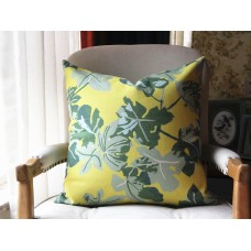 Fig Leaf Pillow Cover - Decorative Pillow - Green Leaf Throw Pillow 14x18, 16x16, 18x18, 20x20, 22x22 431