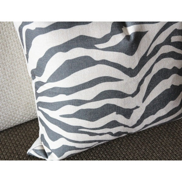 linen pillow black gray white zebra pattern geometrical pillow cover lumbar pillow