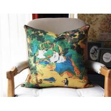 Exclusive Original Designer pillow - The Peach Garden pillow - Blue Yellow Pillow Cover - Designer Peach Garden Pillow Cover 438