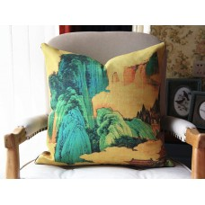 Exclusive Original Designer pillow - The Peach Garden pillow - Blue Yellow Pillow Cover - Designer Peach Garden Pillow Cover 439