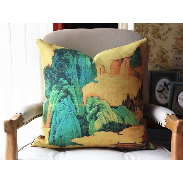 Exclusive Original Designer pillow - The Peach Garden pillow - Blue Yellow Pillow Cover - Designer Peach Garden Pillow Cover 439