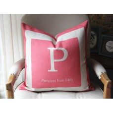 10 colors Girls personalized, name pillow cover pink and beige, baby girl newborn gift, princess pillow cover - Bella cover- 441