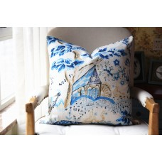 Designer cotton linen Pillow - blue tree and hourse Pattern, blue Pillow - Throw Pillow 443