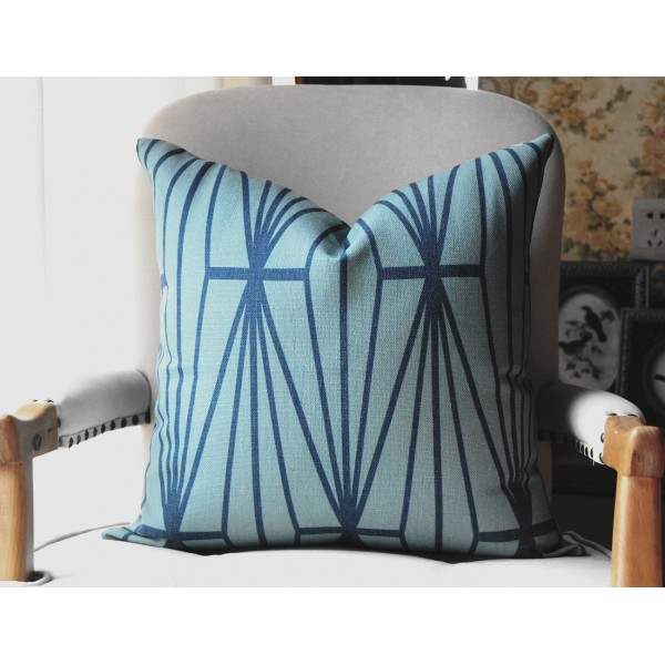 Teal Katana Pillow Cover - Teal Color Pillow - Designer Geometric Pillow Cover 445