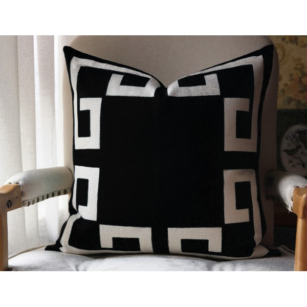 11 colors Black Greek Key Pillow Cover Decorative Throw Pillow Cover with Off White Grosgrain-Cushion Covers-Geometric-18x18,20x20,22x22 451
