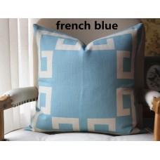 11 colors Blue Greek Key Pillow Cover Decorative Throw Pillow Cover with Off White Grosgrain-Cushion Covers-Geometric-18x18,20x20,22x22 451