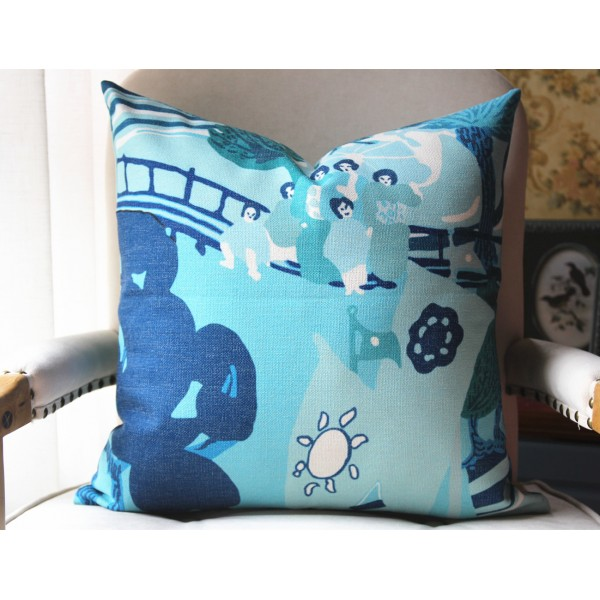 Designer Pillow - Pearl River Pillow Cover in Blue SEA 452
