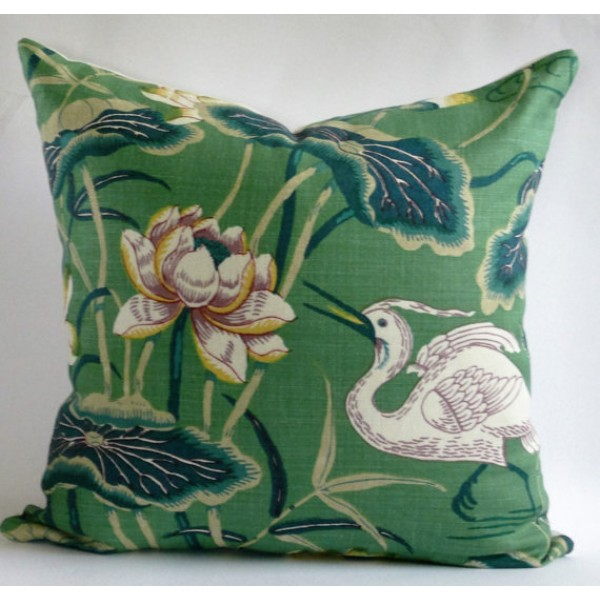 Jade Lotus Garden Pillow Cover  - Green Pillow  - Designer Geometric Pillow Cover 454