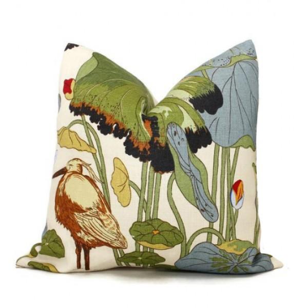 GP & J Baker Nympheus Linen Pillow in Green and Blue. Lumbar Floral Pillow  460