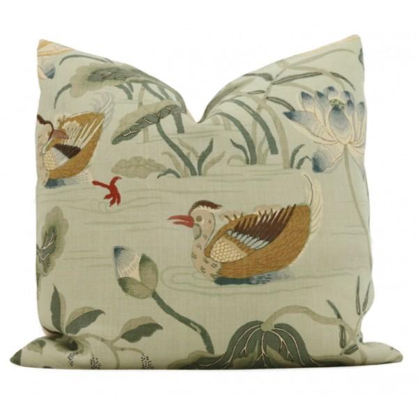 LOTUS GARDEN Linen Pillow in Green  Lumbar Floral Pillow  462